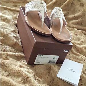 Coach Berniice  white leather sandel  10 M  New